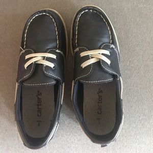Navy Blue Leather Boat Shoes